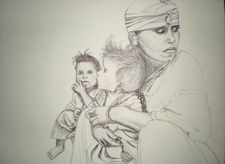 Femme berbère et ses enfants