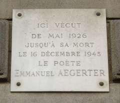 Plaque_Emmanuel_Aegerter, 33_rue_de_Coulimers,_Paris_14.jpg