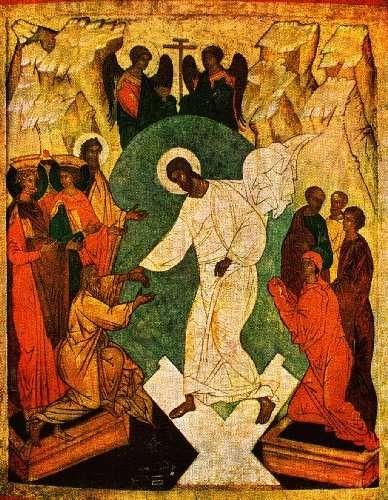 resurrection représentée d'abord sur les icônes comme une sortie des enfers en  tenant Adam et     Eve.jpg