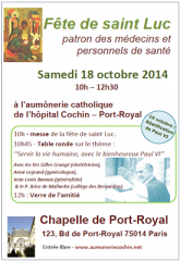 Fête de Saint Luc 18 octobre 2014 à la Chapelle de Port Royal.png