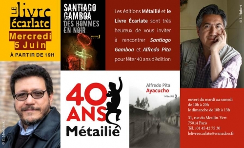 le livre Ecarlate 5 juin 2019 rencontre 40 ans editions Metailié renconte  Santiago gamboa et Alfredo Pita.jpg