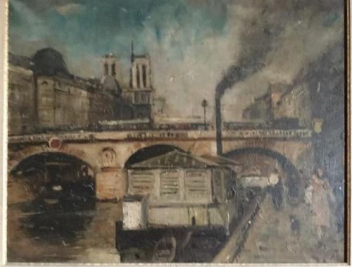 François Gall lavandières devant les bateaux-lavoirs sous le pont Saint Michel 1938.jpg