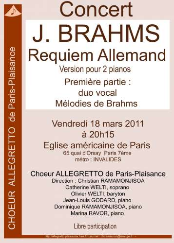 paris plaisance,brahms,allegretto,choeur