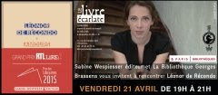 le livre Ecalate et biblio Georges Brassens rencontre Léonor de  Recondo 21 avril.jpg