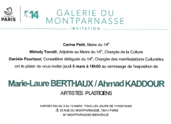 galerie du montparnasse exposition du 3 au 15 mars vernissage de l'exposition Marie-Laure  Berthaux et Ahmad Kaddour.png