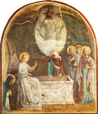 Fra Angelico la résurrection du Christ et les femmes au tombeau.jpg