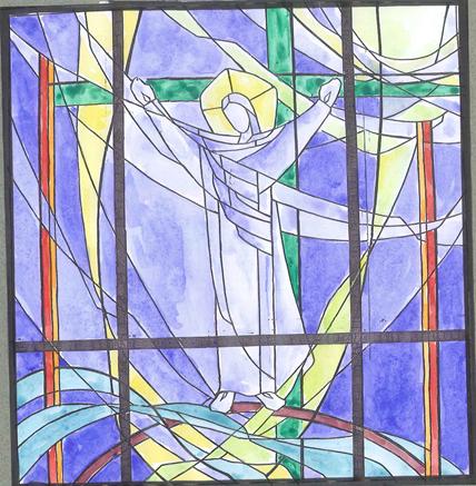 Chapelle Saint Bernard de Montparnasse vitrail  donnant sur le parvis de la gare.png