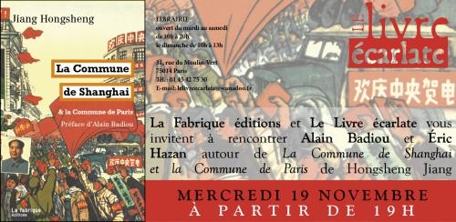 Le livre Ecarlate rencontre Alain Badiou et Eric Hazan autour de la Commune de de Shanghai  et la commune de Paris.jpg