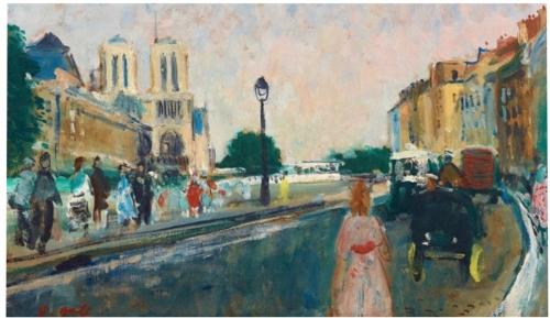 François Gall Automobiles et promeneurs quai Saint Michel vers Notre Dame.jpg
