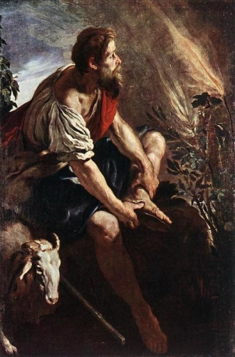 Moîse et le buisson ardent tableau de Domenico-Feti-Domenico-Fetti-Moses-before-the-Burning-Bush.JPG