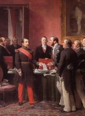 NapoleonIII remet au baron Haussmann le décret d'annexion des communes suburbaines 1860.jpg